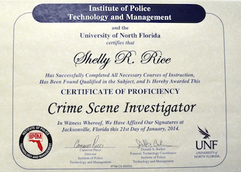 Shelly Rice Crime Scene Investigator Certificate Of Proficiency