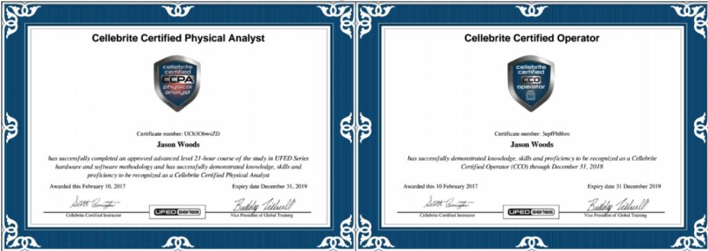 Cellebrite Certificates Digital Investigation - SRI